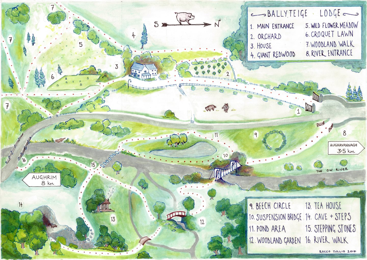 Map of Ballyteige Lodge and Woodland Garden